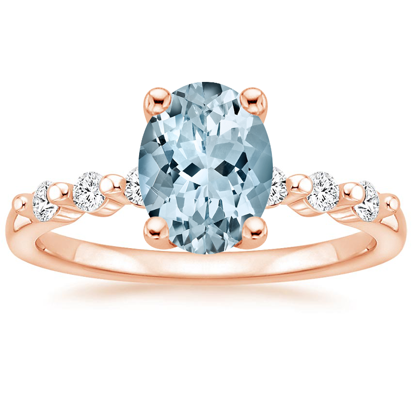Rose Gold Aquamarine Petite Marseille Diamond Ring (1/6 ct. tw.)