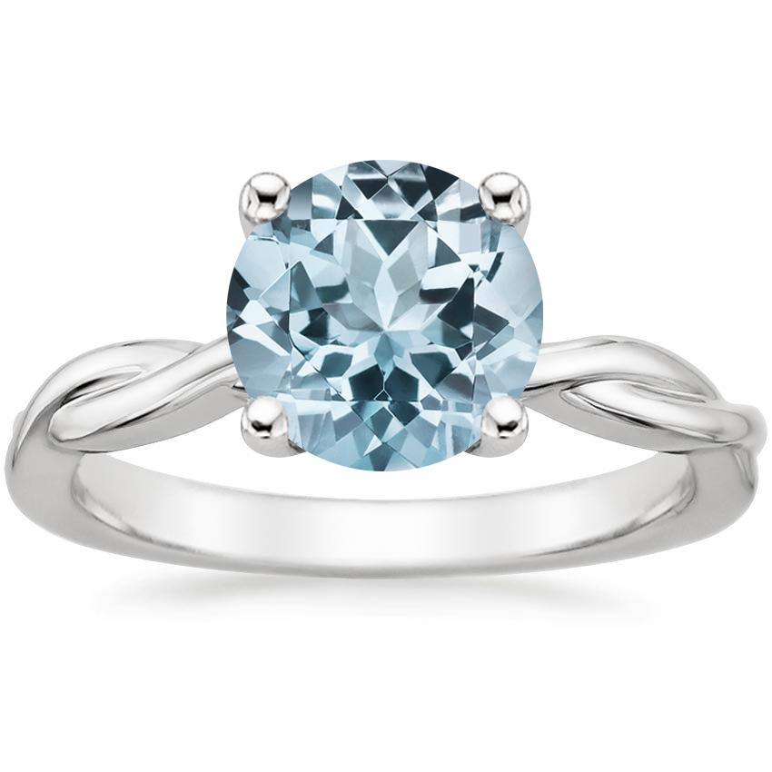 Aquamarine Twisted Vine Ring in 18K White Gold