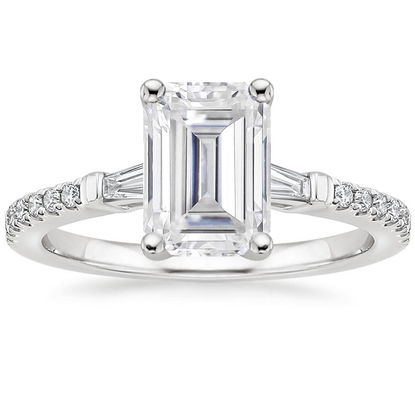 Moissanite Luxe Tapered Baguette Diamond Ring (1/4 ct. tw.) in 18K White Gold