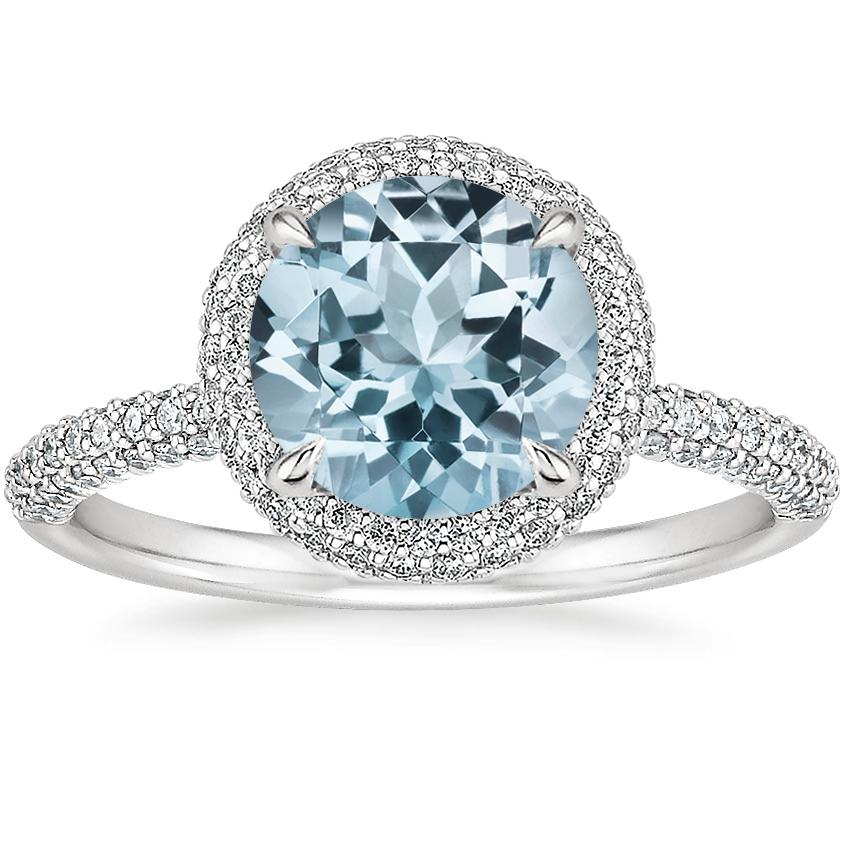 Aquamarine Valencia Halo Diamond Ring (1/2 ct. tw.) in 18K White Gold
