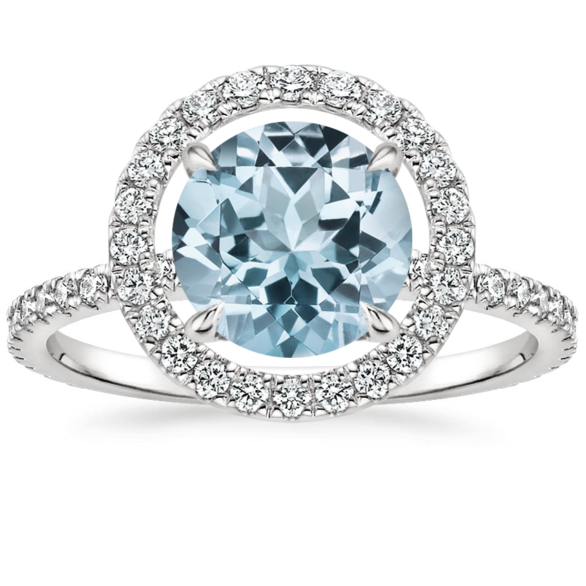 Aquamarine Aura Diamond Ring in 18K White Gold