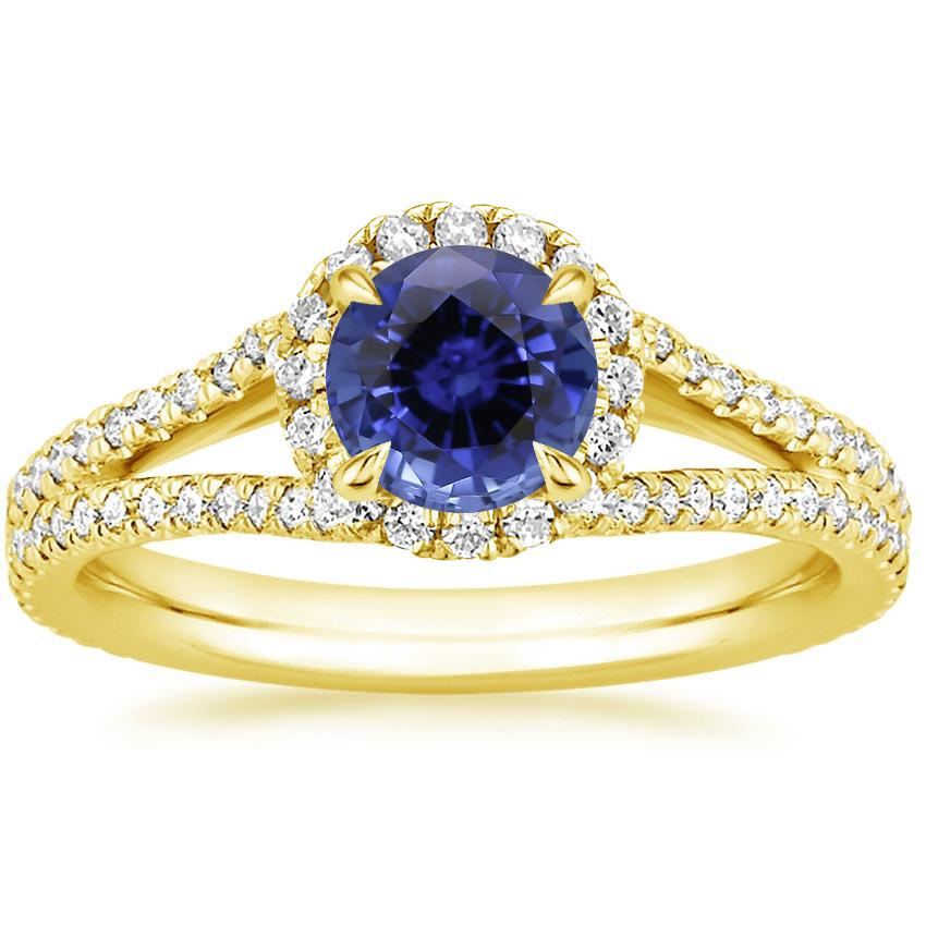 Yellow Gold Sapphire Fortuna Diamond Ring (1/2 ct. tw.)