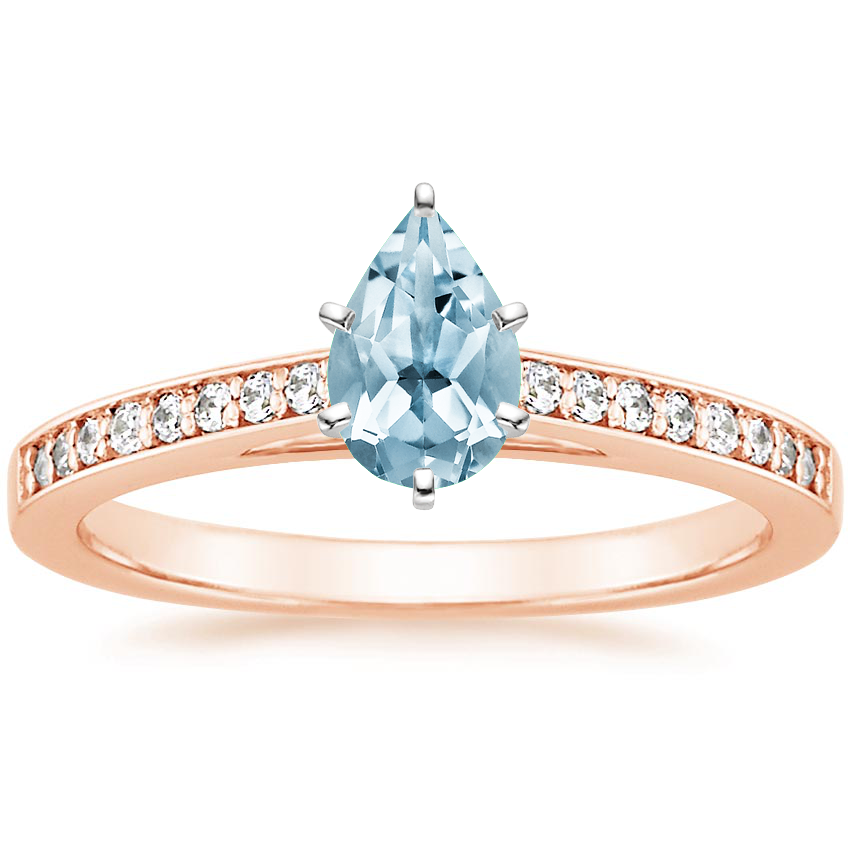 Rose Gold Aquamarine Starlight Diamond Ring