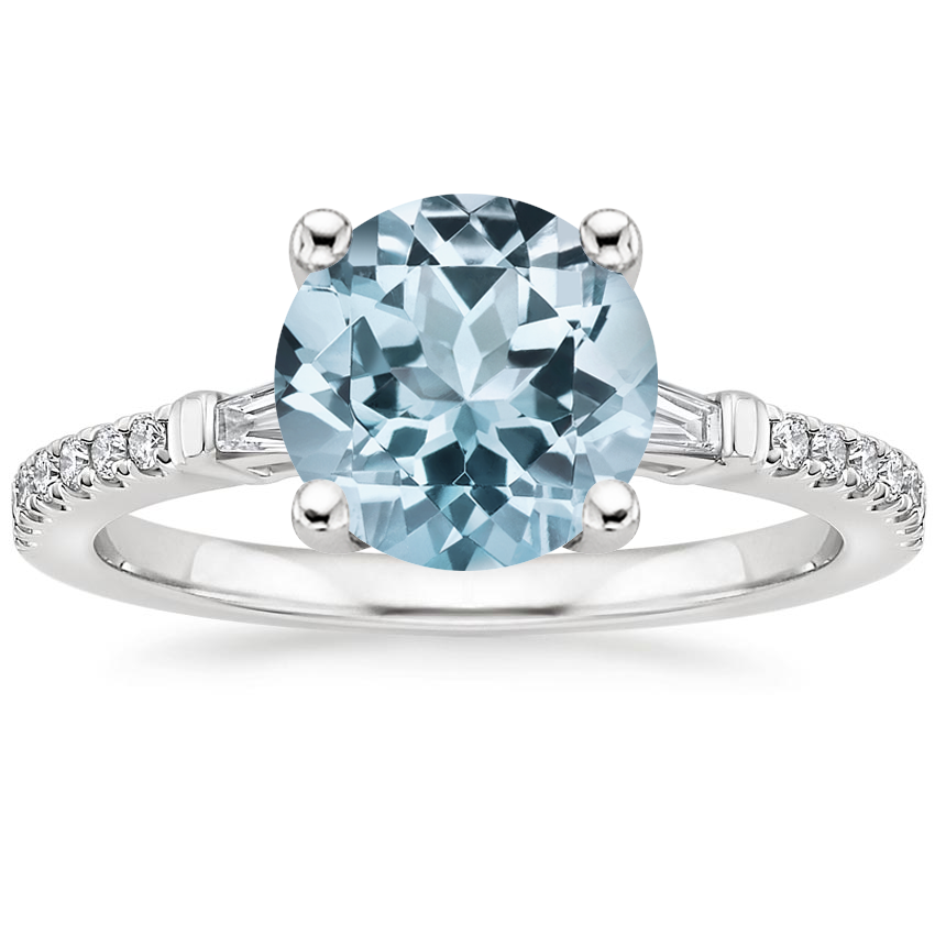 Aquamarine Luxe Tapered Baguette Diamond Ring (1/4 ct. tw.) in 18K White Gold