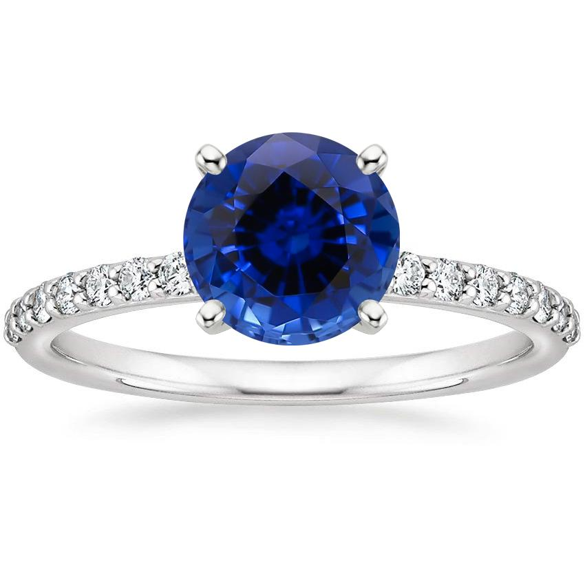 Sapphire Petite Shared Prong Diamond Ring (1/4 ct. tw.) in 18K White Gold
