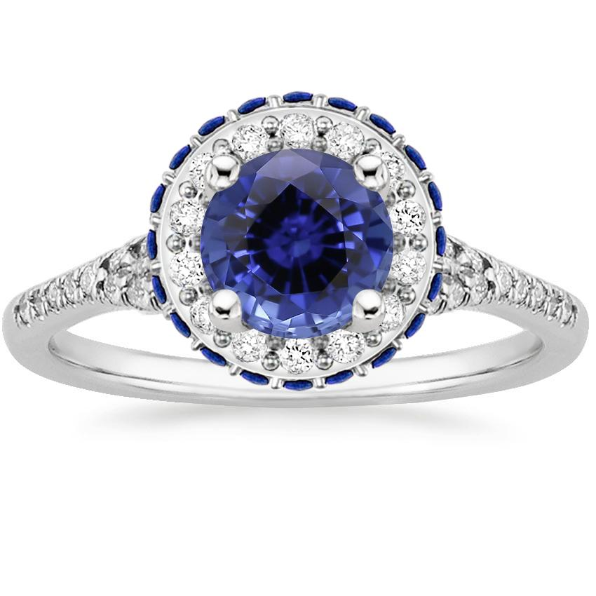 Sapphire Circa Diamond Ring with Sapphire Accents (1/3 ct. tw.) in 18K White Gold