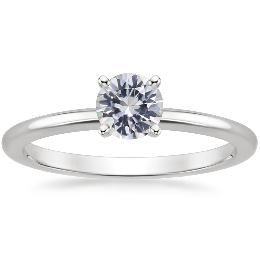 18K White Gold Four-Prong Petite Comfort Fit White Sapphire Ring
