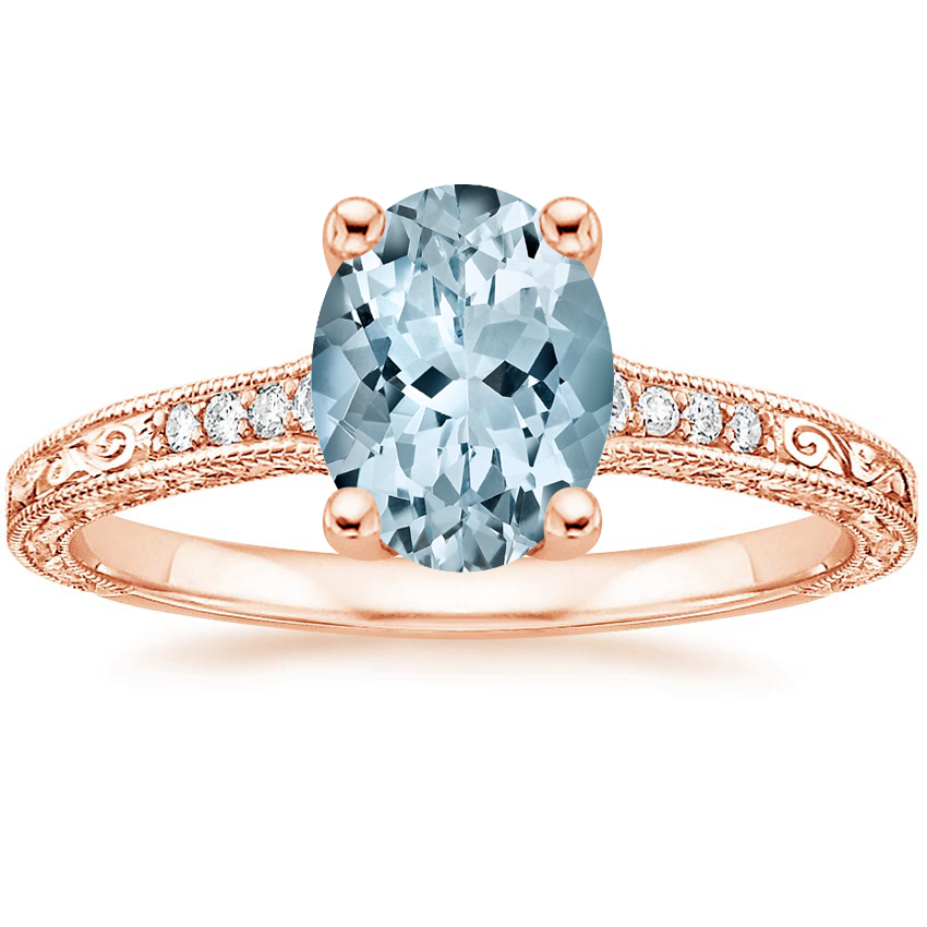 Rose Gold Aquamarine Luxe Hudson Diamond Ring (1/10 ct. tw.)