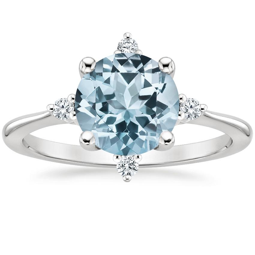 Aquamarine Luminesce Diamond Ring in 18K White Gold