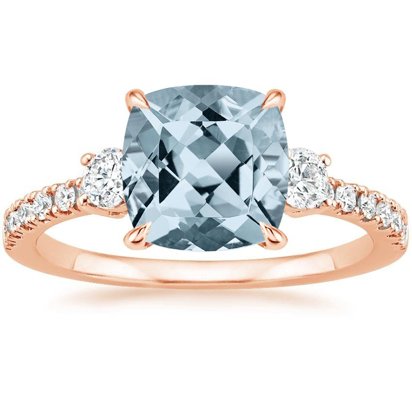 Rose Gold Aquamarine Radiance Diamond Ring (1/3 ct. tw.)
