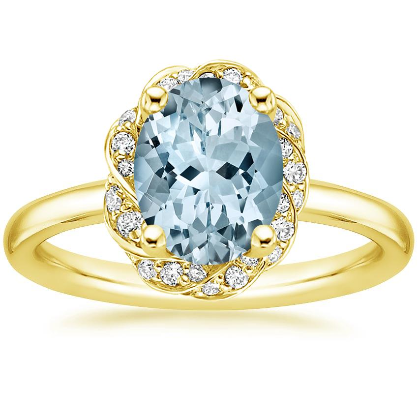 Yellow Gold Aquamarine Corinna Diamond Ring