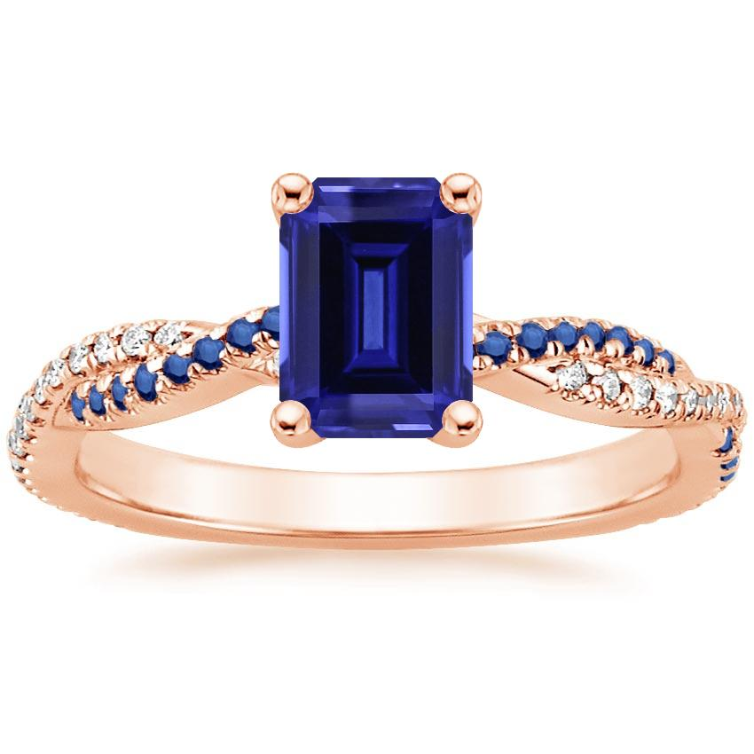 Rose Gold Sapphire Petite Luxe Twisted Vine Sapphire and Diamond Ring (1/8 ct. tw.)