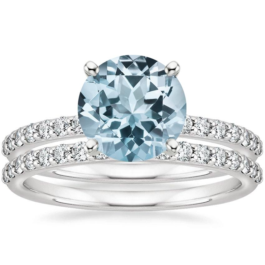 18KW Aquamarine Petite Shared Prong Bridal Set (1/2 ct. tw.), top view
