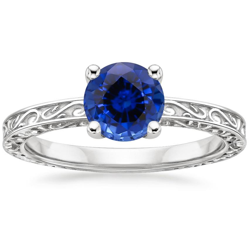 Sapphire Delicate Antique Scroll Solitaire Ring in 18K White Gold