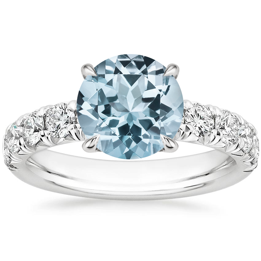 Aquamarine Ellora Diamond Ring in 18K White Gold