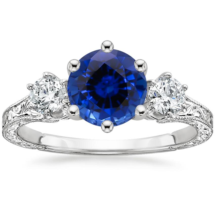 Sapphire Three Stone Hudson Diamond Ring (1/3 ct. tw.) in 18K White Gold