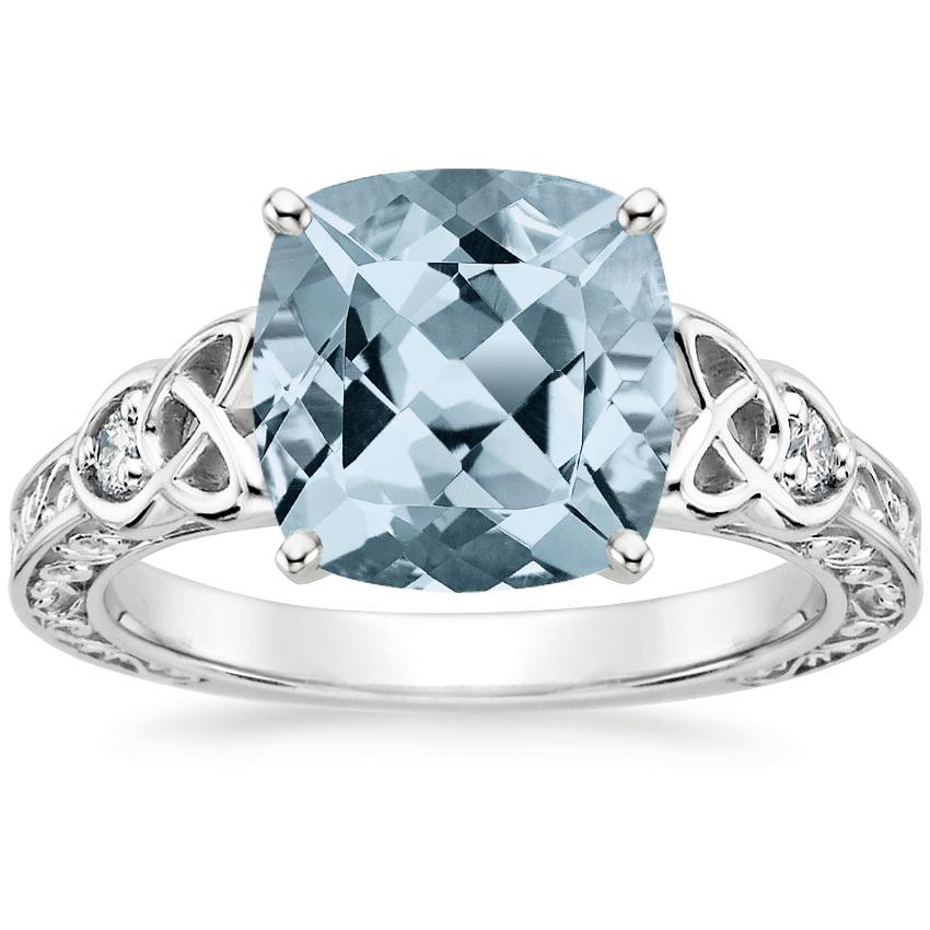 Aquamarine Aberdeen Diamond Ring in Platinum