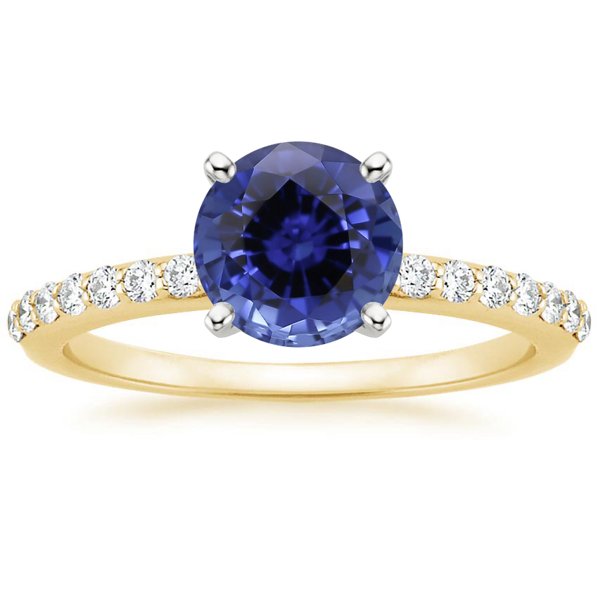Yellow Gold Sapphire Petite Shared Prong Diamond Ring (1/4 ct. tw.)