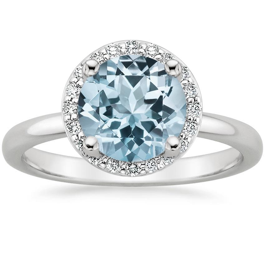 Aquamarine Halo Diamond Ring (1/6 ct. tw.) in 18K White Gold