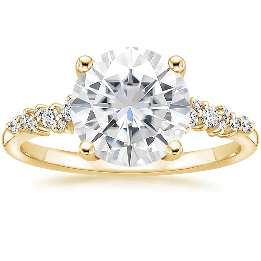 Yellow Gold Moissanite Aurora Diamond Ring