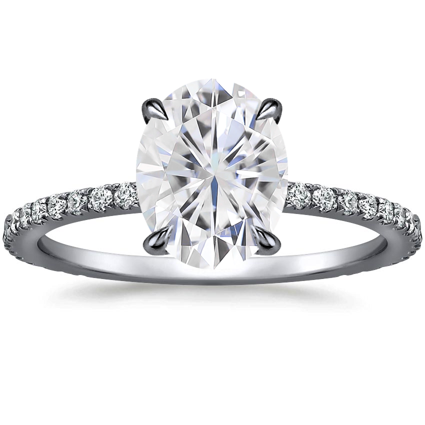 Moissanite Black Rhodium Demi Diamond Ring (1/3 ct. tw.) in 18K White Gold