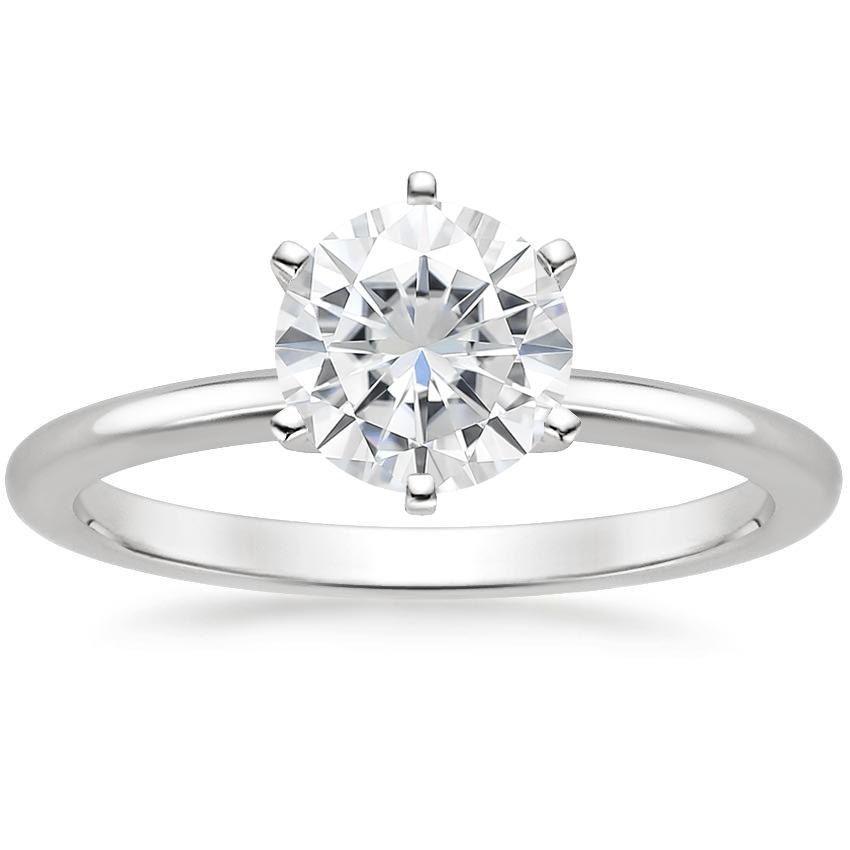 Moissanite Six-Prong Petite Comfort Fit Ring in Platinum