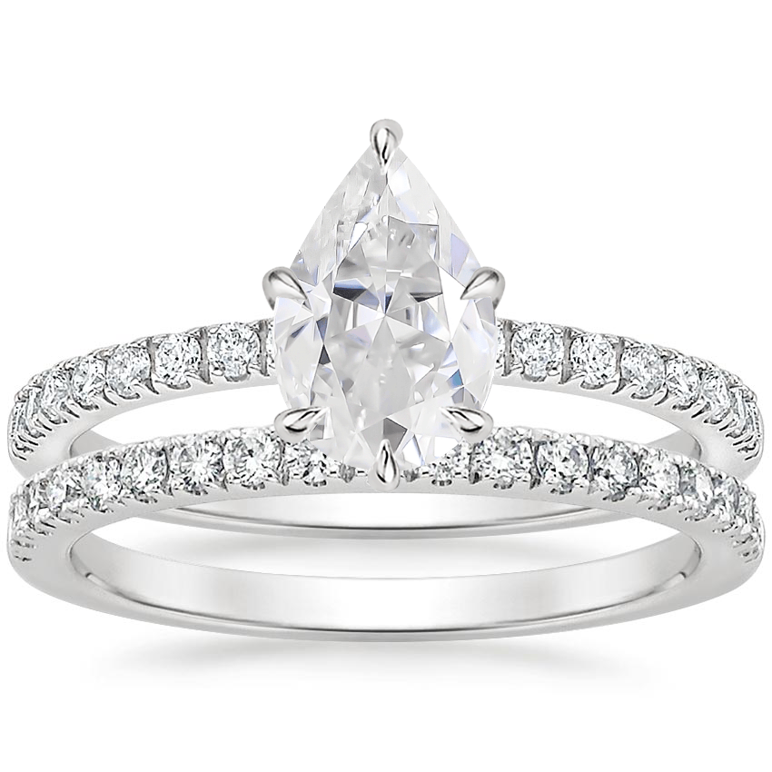 PT Moissanite Poppy Diamond Ring (1/6 ct. tw.) with Bliss Diamond Ring (1/5 ct. tw.), top view