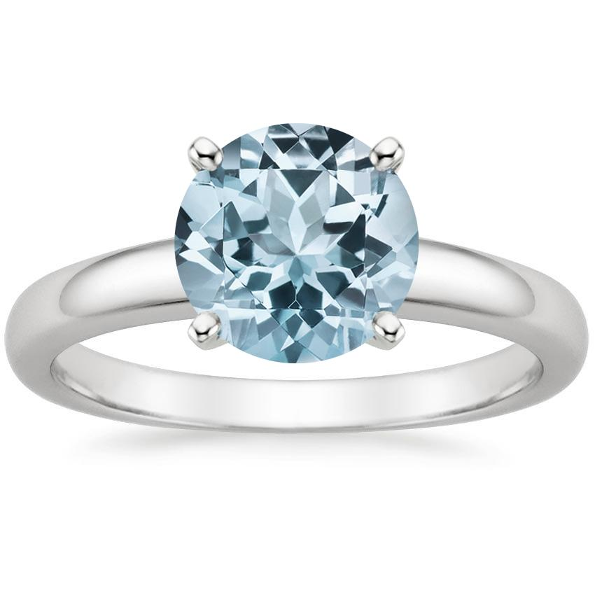 Aquamarine 3mm Comfort Fit Ring in 18K White Gold