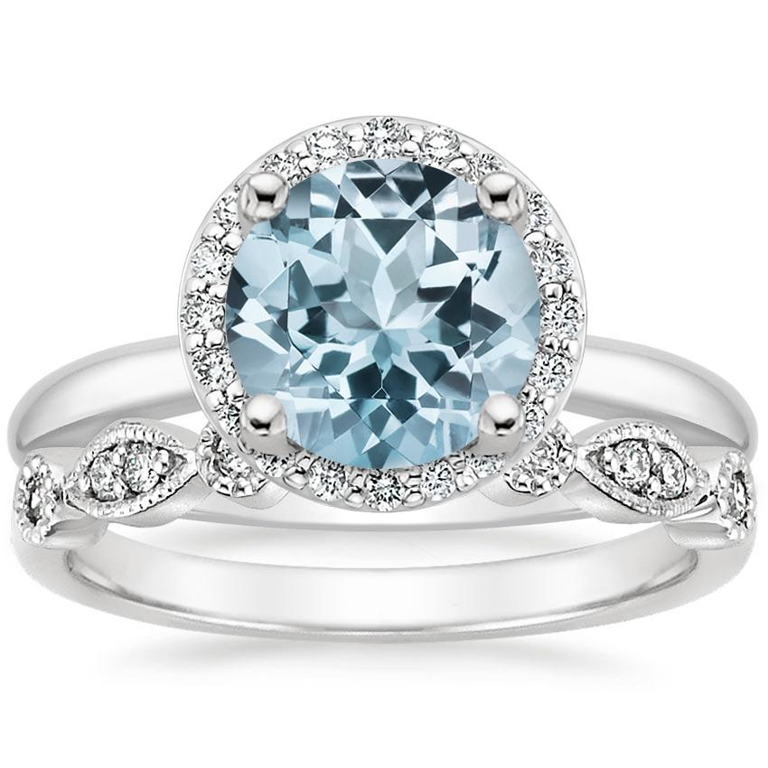 18KW Aquamarine Halo Diamond Ring (1/6 ct. tw.) with Tiara Diamond Ring (1/10 ct. tw.), top view
