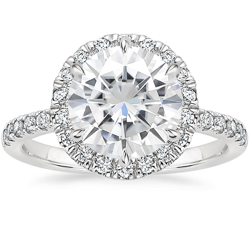 Moissanite Poppy Halo Diamond Ring (1/3 ct. tw.) in 18K White Gold
