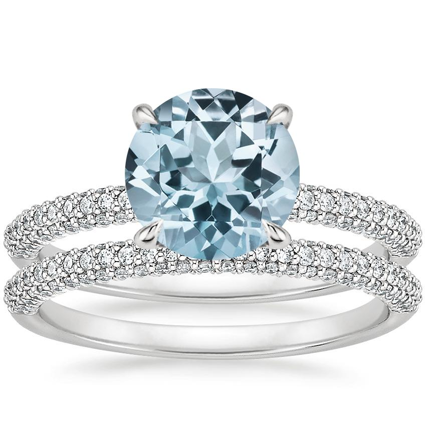 18KW Aquamarine Valencia Diamond Bridal Set (5/8 ct. tw.), top view