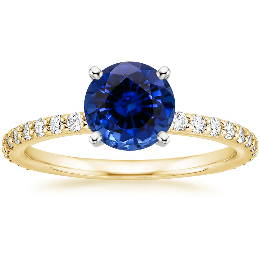 Yellow Gold Lab Created Sapphire Luxe Petite Shared Prong Diamond Ring (1/3 ct. tw.)