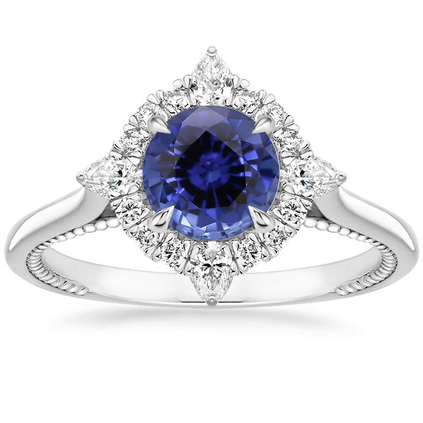 Sapphire Dahlia Diamond Ring (1/3 ct. tw.) in 18K White Gold