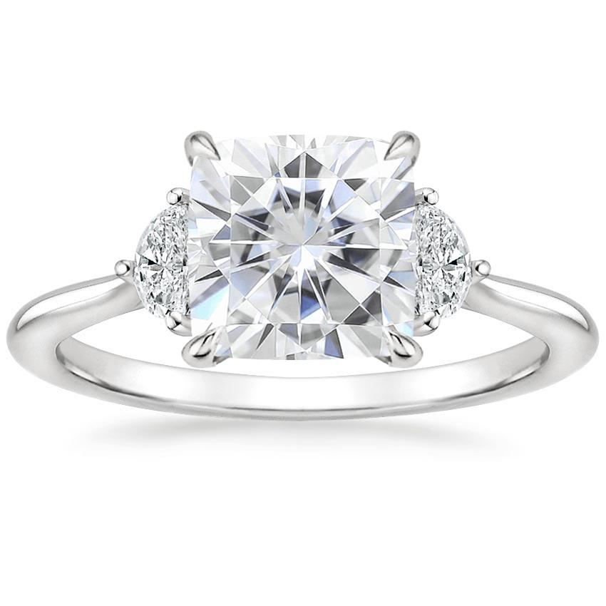 Moissanite Half Moon Diamond Ring in 18K White Gold