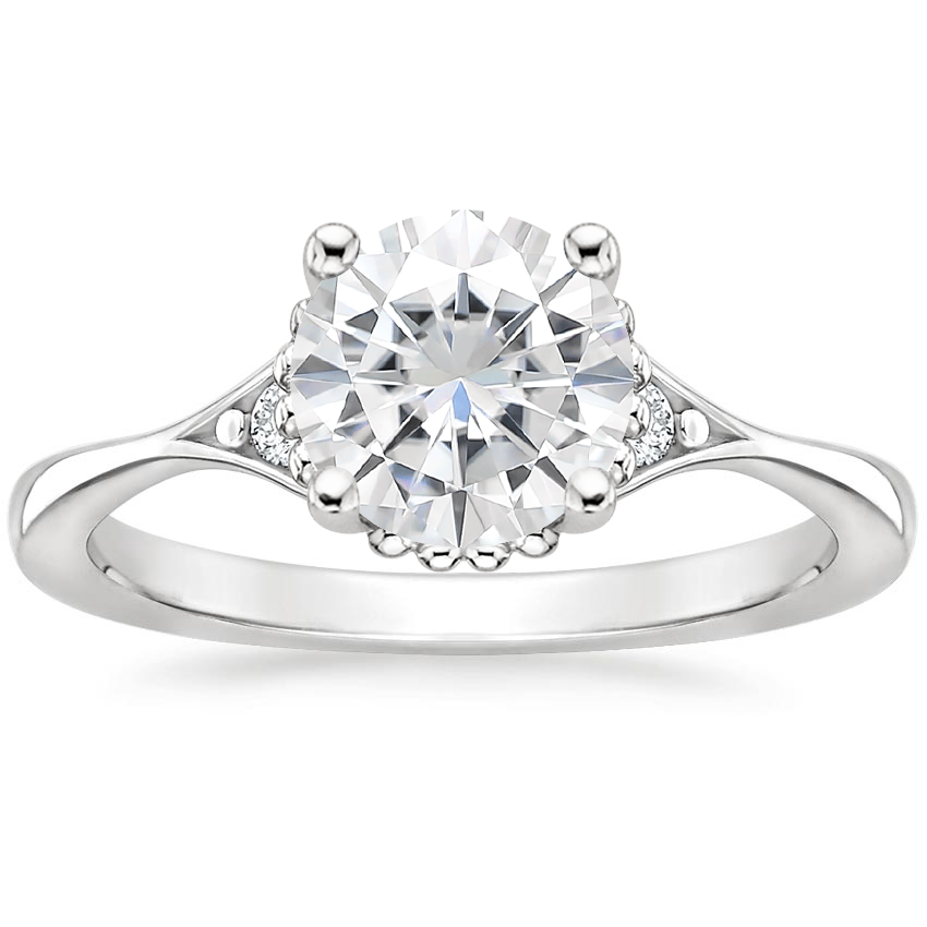 Moissanite Dolce Diamond Ring in 18K White Gold