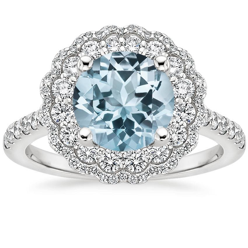 Aquamarine Rosa Diamond Ring in 18K White Gold