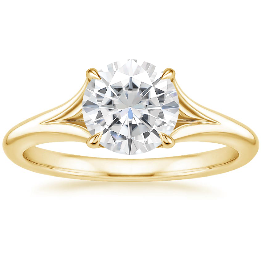 Yellow Gold Moissanite Reverie Ring with Surprise Sapphire Accents