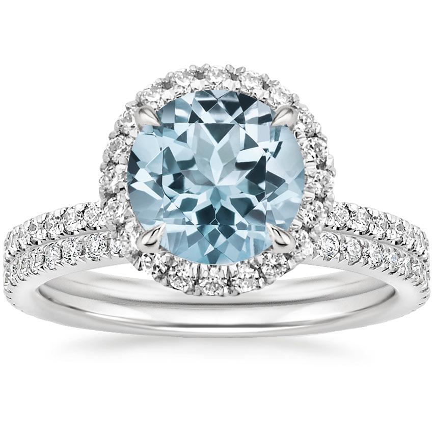 18KW Aquamarine Waverly Diamond Bridal Set (2/3 ct. tw.), top view