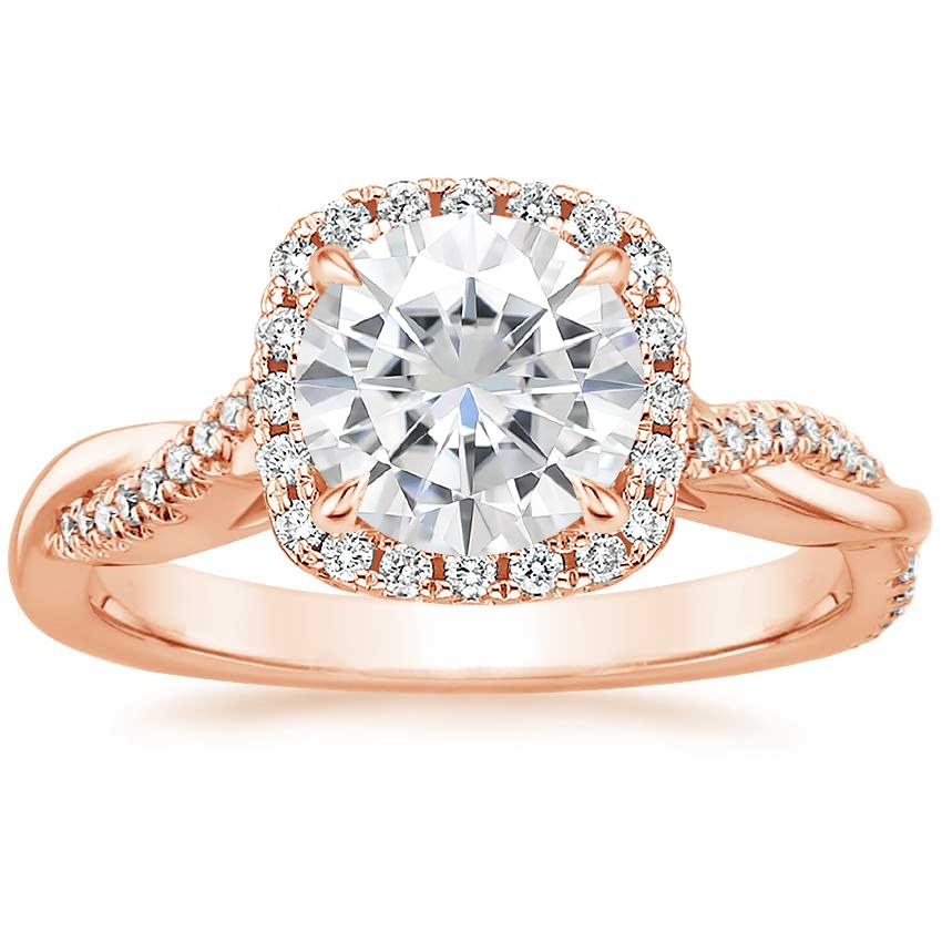 Rose Gold Moissanite Petite Twisted Vine Halo Diamond Ring (1/4 ct. tw.)