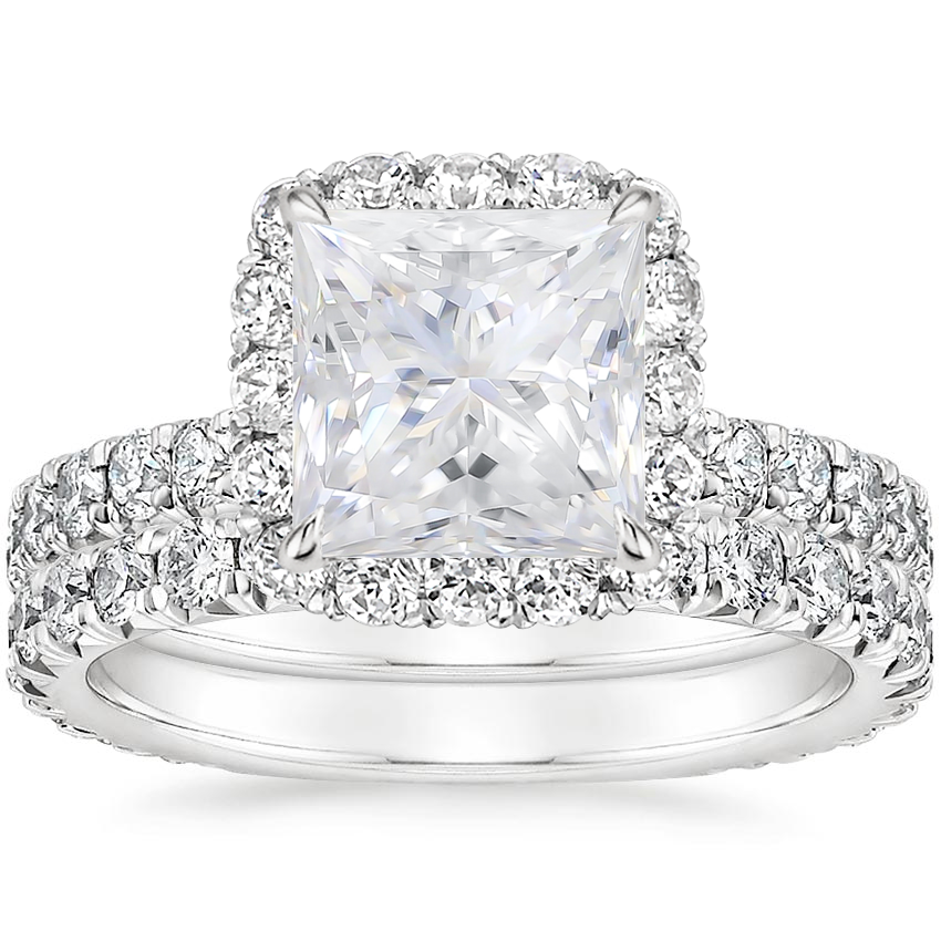 18KW Moissanite Estelle Diamond Bridal Set (1 1/3 ct. tw.), top view