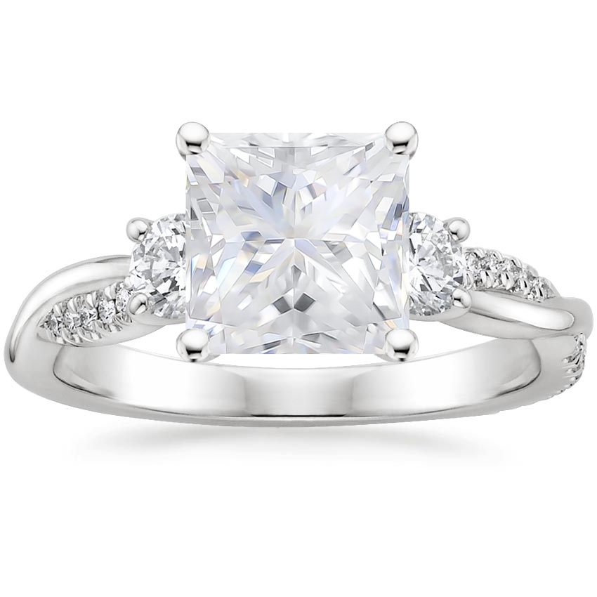 Moissanite Three Stone Petite Twisted Vine Diamond Ring (2/5 ct. tw.) in 18K White Gold