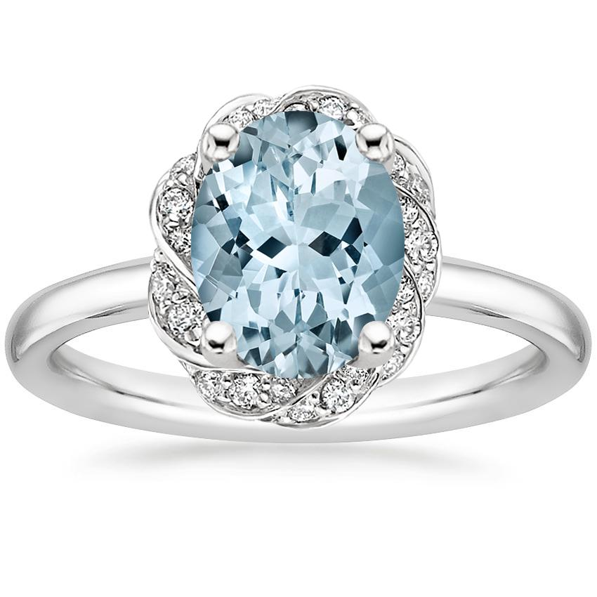 Aquamarine Corinna Diamond Ring in 18K White Gold