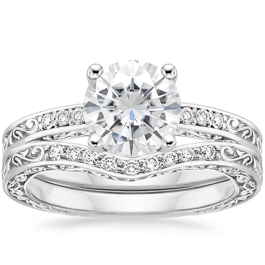 18KW Moissanite Delicate Antique Scroll Contoured Diamond Bridal Set, top view