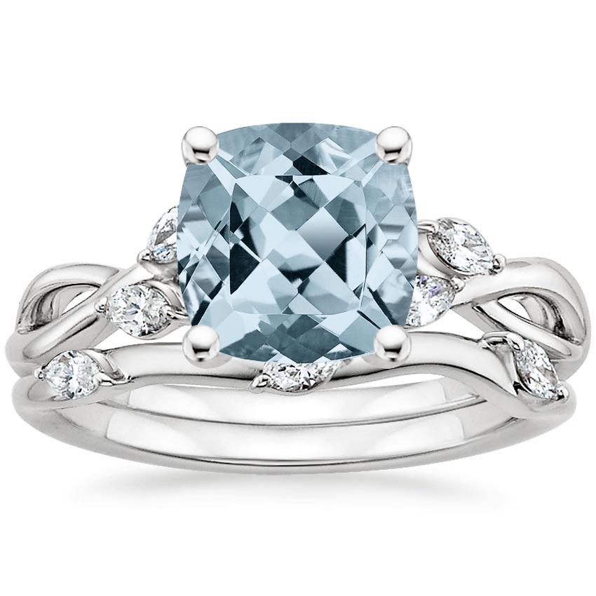 18KW Aquamarine Willow Bridal Set (1/4 ct. tw.), top view