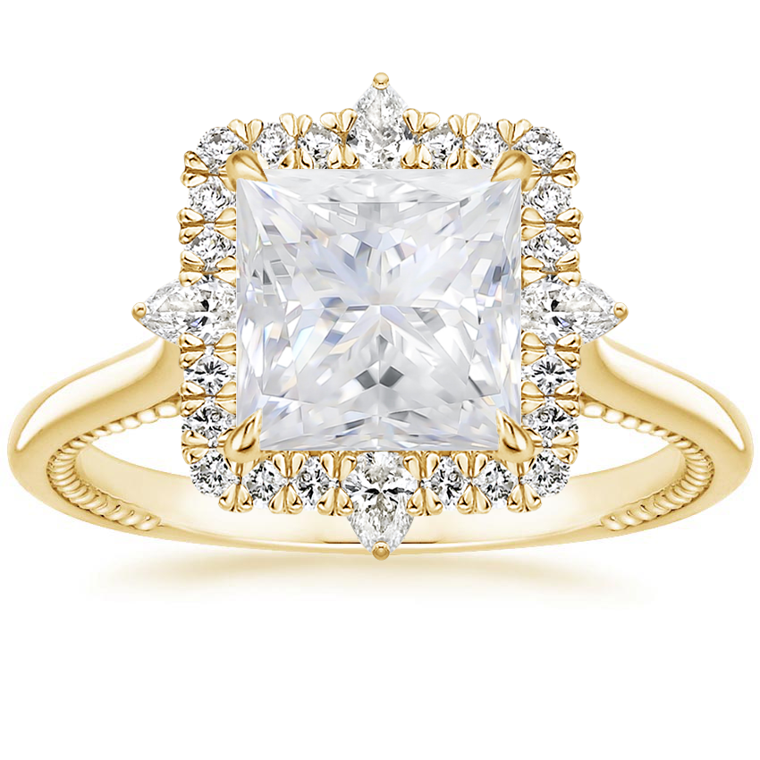 Yellow Gold Moissanite Dahlia Diamond Ring (1/3 ct. tw.)