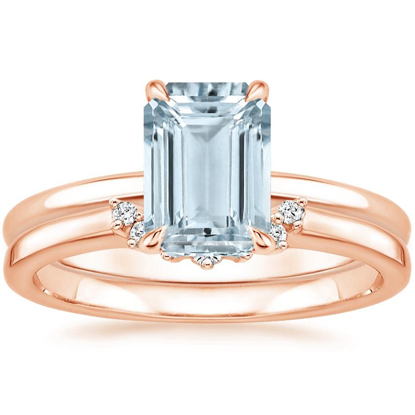14KR Aquamarine Elodie Ring with Crescent Diamond Ring, top view