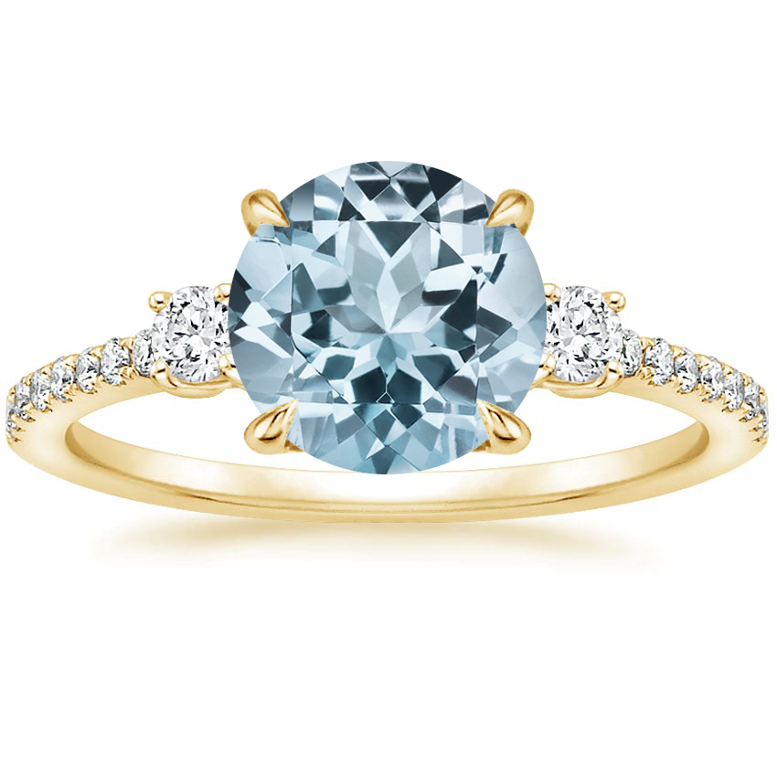 Yellow Gold Aquamarine Lyra Diamond Ring (1/4 ct. tw.)