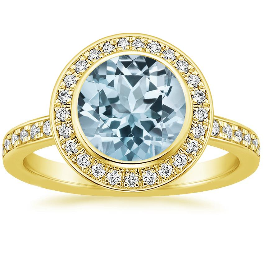 Yellow Gold Aquamarine Malia Diamond Ring (1/4 ct. tw.)