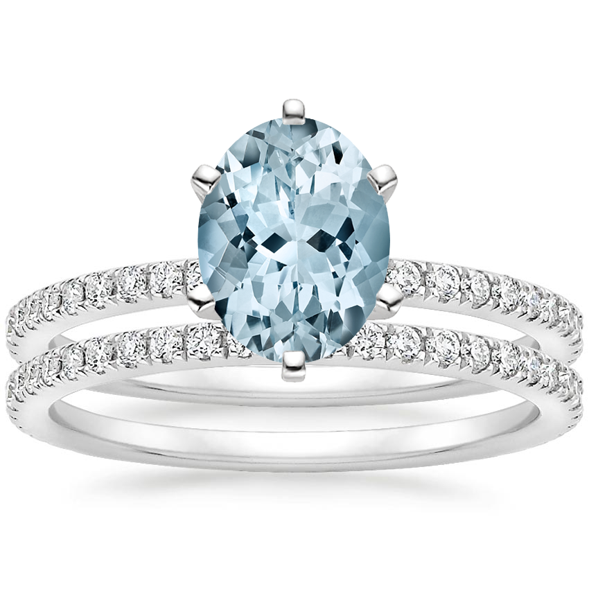 18KW Aquamarine Lyric Diamond Ring with Luxe Ballad Diamond Ring (1/4 ct. tw.), top view
