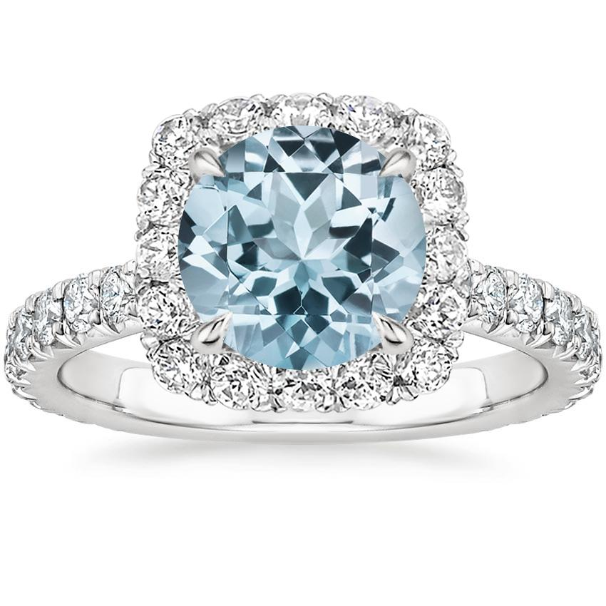 Aquamarine Estelle Diamond Ring (3/4 ct. tw.) in 18K White Gold
